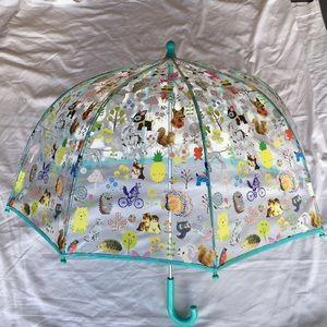 Girls turquoise, animal characters design umbrella